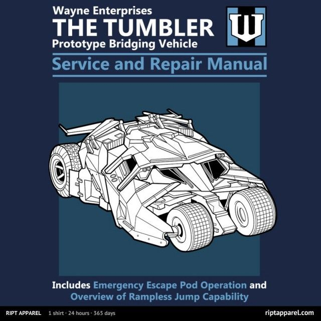 The Tumbler Service and Repair Manual T-Shirt   $10 DESCRIPTION t-shirt at RIPT today.