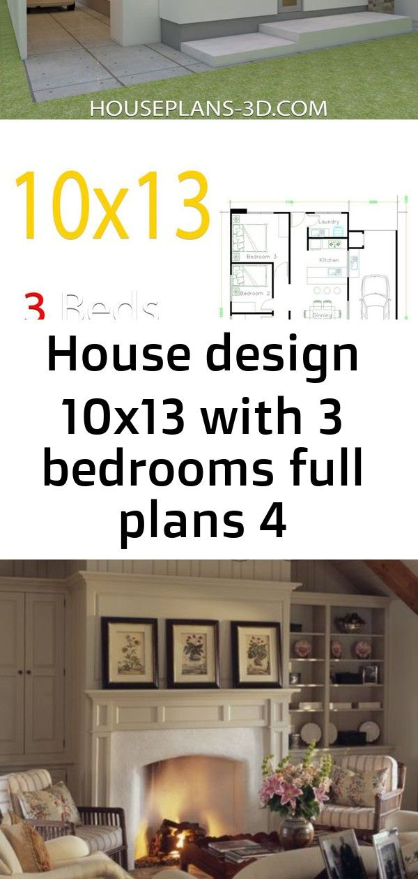 House design 10x13 with 3 bedrooms full plans 4 #vaultedceilingdecor