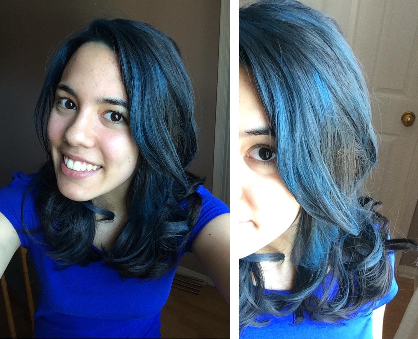 Blue Highlight Splat Midnight Hair Color