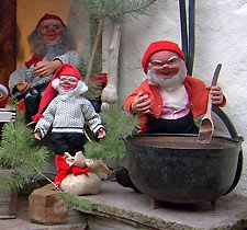 """Example of Scandinavian Julenisse, from Rick Steves """"Old timers believed the nisse was the original settler of the land. His primary duty was to protect the land and buildings. He kept the farm in good order and would be helpful as long as he got his Christmas porridge or Christmas beer and lefse on Christmas Eve. Many farms would make up a bed for the nisse on Christmas Eve and the honorary place at the table stood ready and waiting for him."""""""