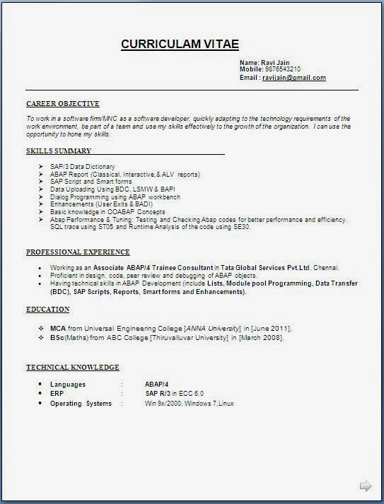 Free Samples Of Resumes Sap Abap Developer Resume Format Template Examples Sample  Home