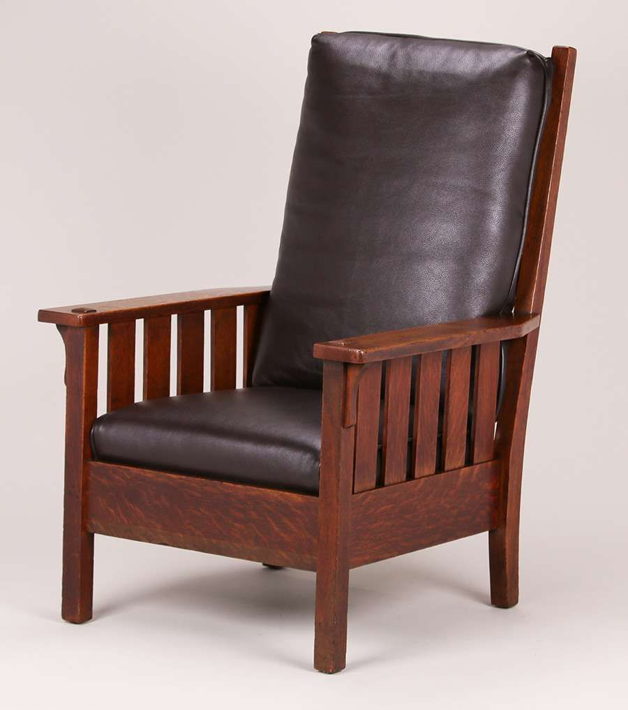 Charles Stickley Tall Back Slatted Armchair Similar To Gustav Stickleyu0027s  #324. Unsigned.