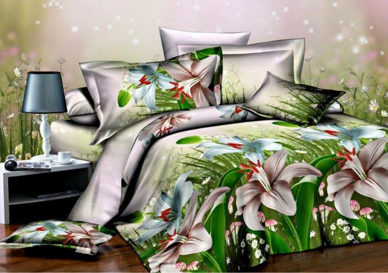 White Lily Bedding 3D Duvet Cover Set