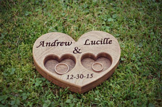Wedding Ring Box  Bearer Personalzed wooden Sunflower wedding engraved Ring Holder Heart ring