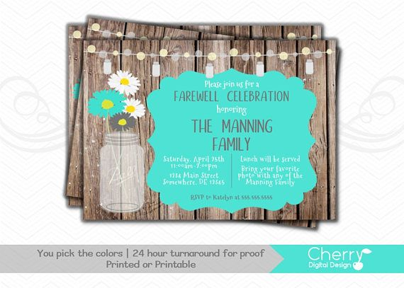 Pretty Rustic Farewell Party Printable Invitation Going Away - farewell party invitation template