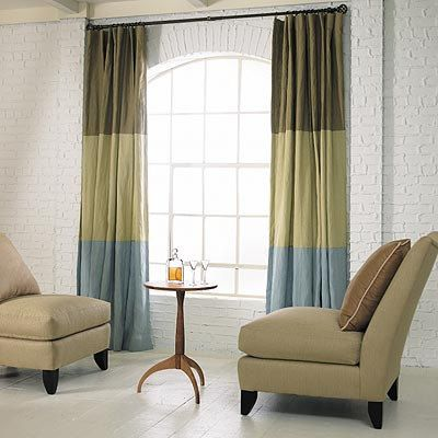 Pair Of Color Block Linen Curtain Panels Three Colors