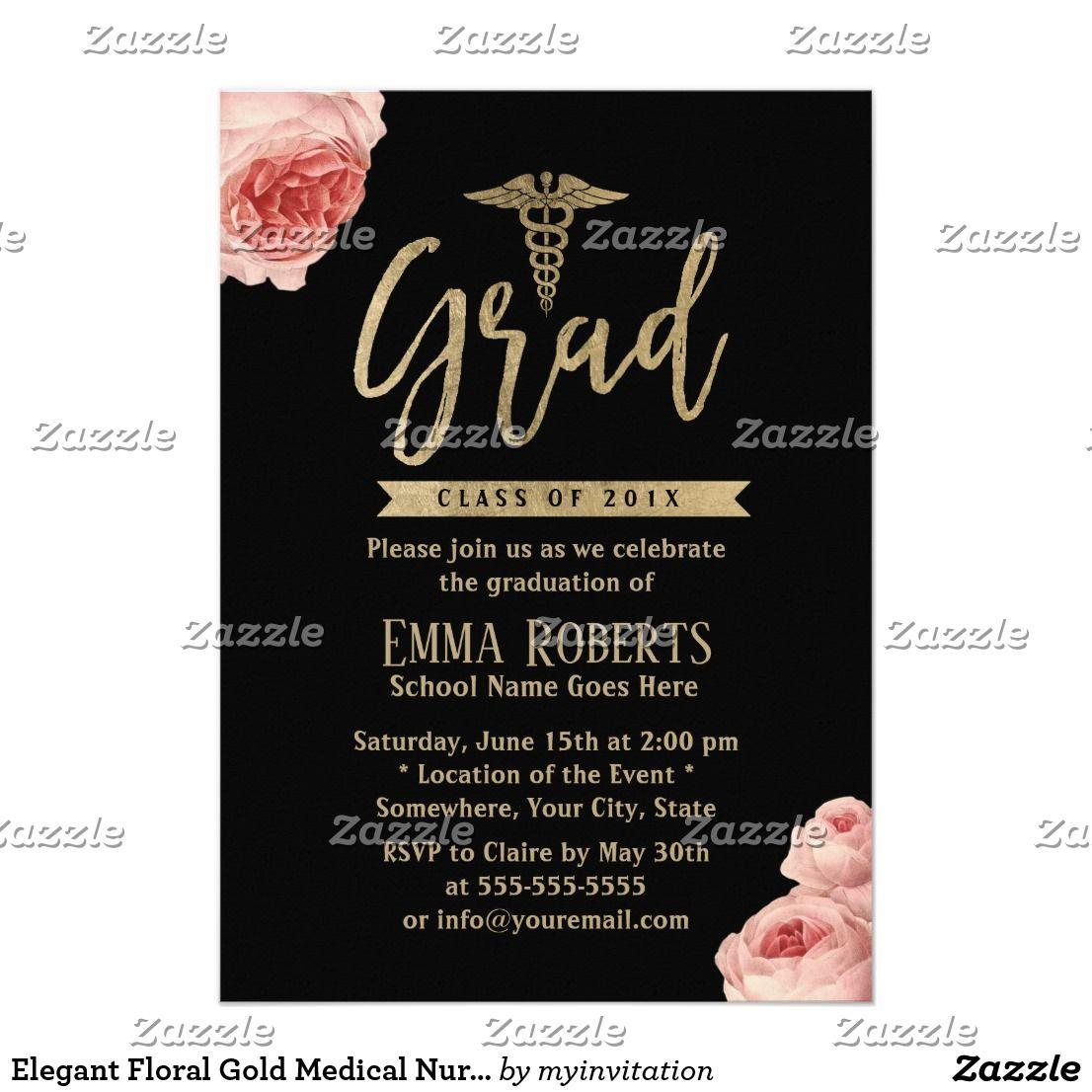Elegant floral gold medical nurse graduation party card elegant floral gold medical nurse graduation party card elegant floral gold medical nurse graduation party invitations filmwisefo