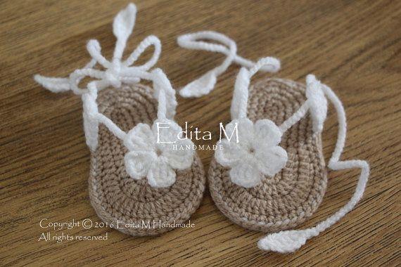fe5d63fe7 Crochet sandalias bebé zapatillas bebé ojotas sandalias