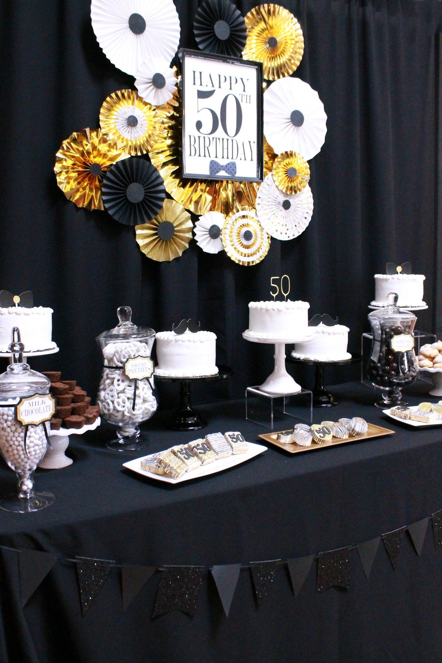 50th Birthday Black Gold And White Party 50th Party Ideas Happy
