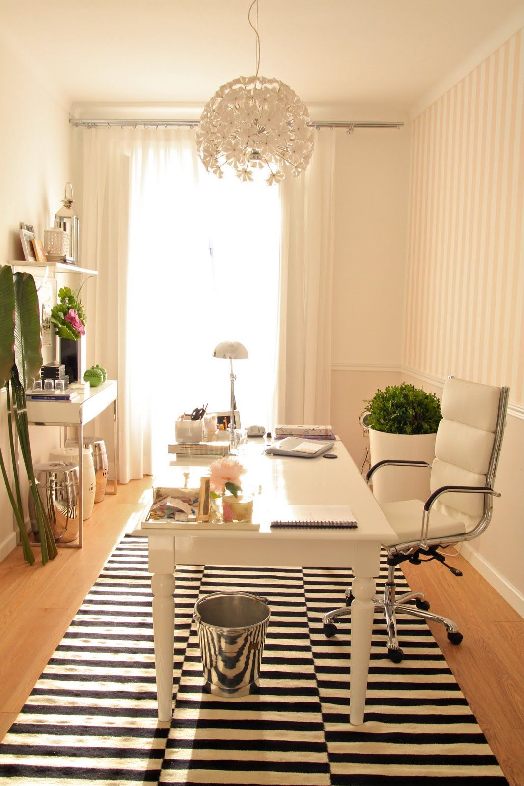 Office With Pale Pink Striped Walls, White Furniture And Black U0026 White  Striped Rug