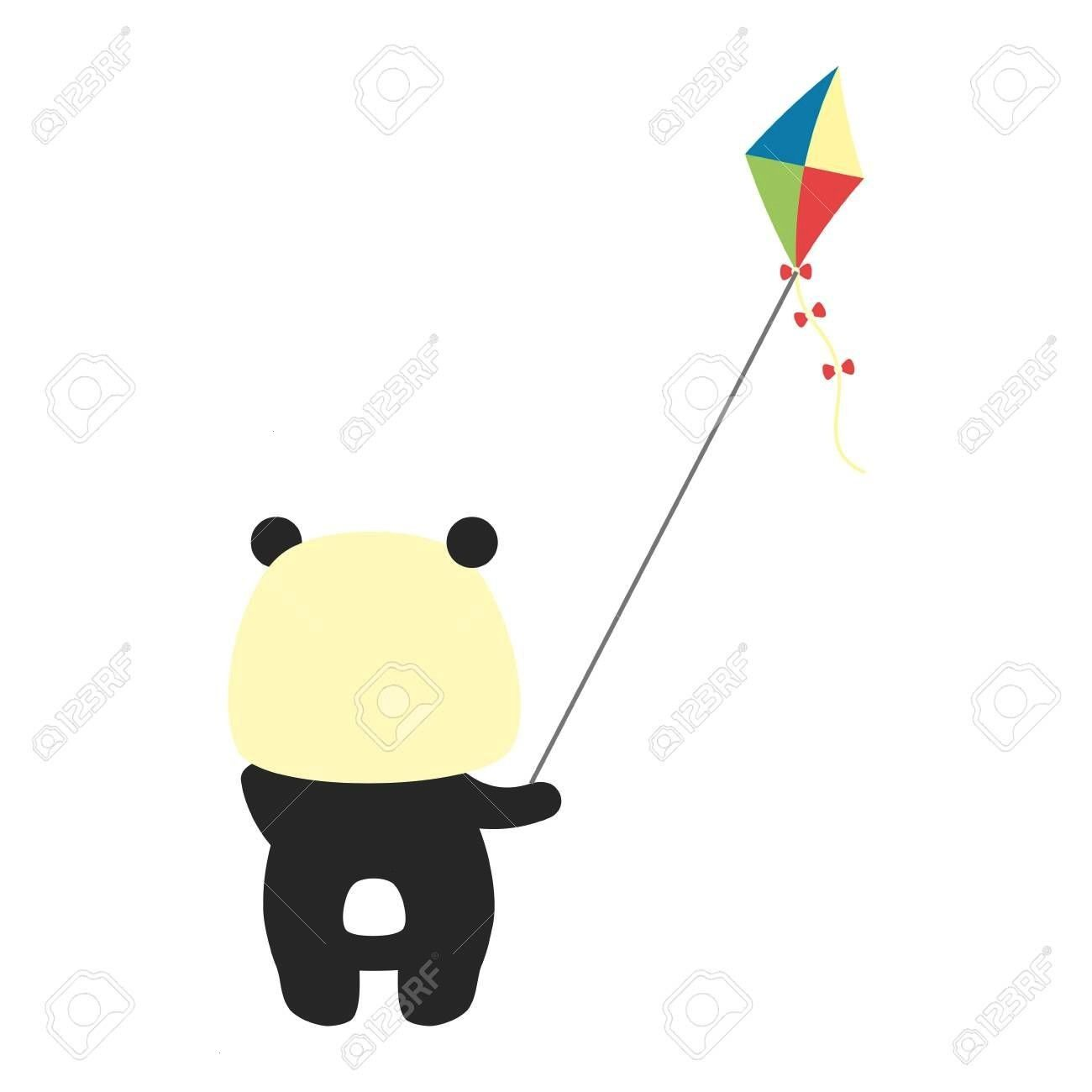 panda with kite toy vector illustration cute panda with kite toy vector illustration  I so want this My kitchen would be so much cuter if I made pancakes in a panda skill...