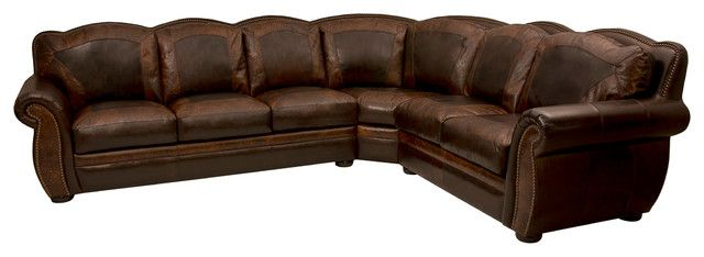 Western Themed Leather Sectional Rustic Sectional Sofas With