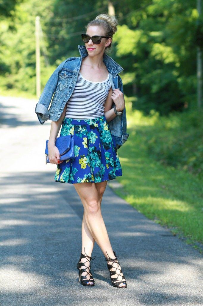 Summer Pattern Mix: J. Crew vintage cropped denim jacket, striped tank, blue floral high-waist skater skirt, lace up open-toe booties, cobalt blue Brahmin clutch