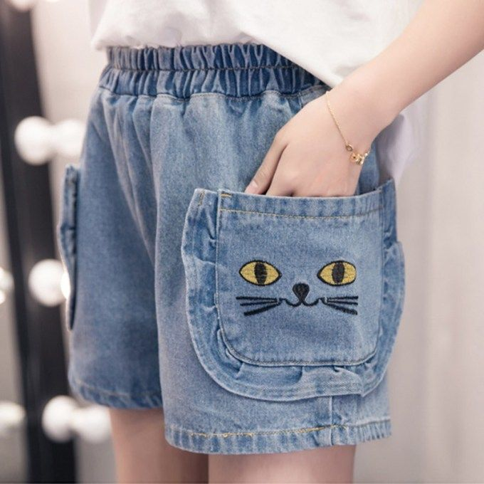 c8d302668 Cat Embroidery Plus Size Shorts Summer S-5XL Cartoon Pockets Loose Denim  Shorts Blue All
