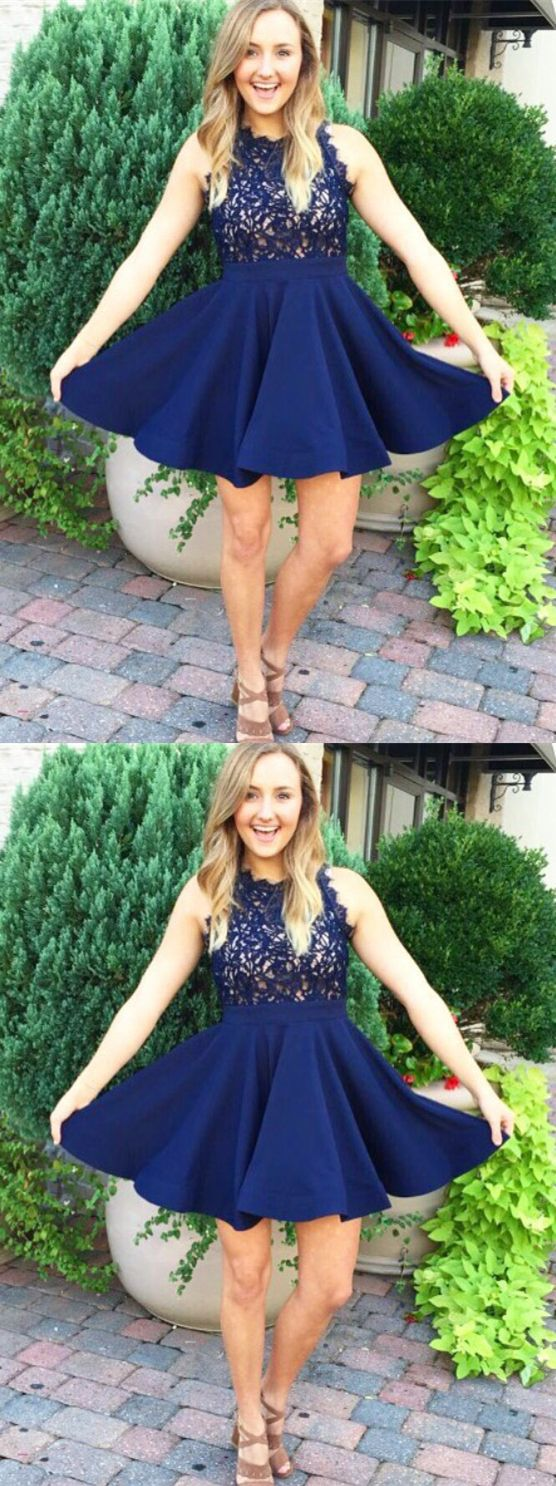 Cute dark blue homecoming dressessimple lace short prom dress