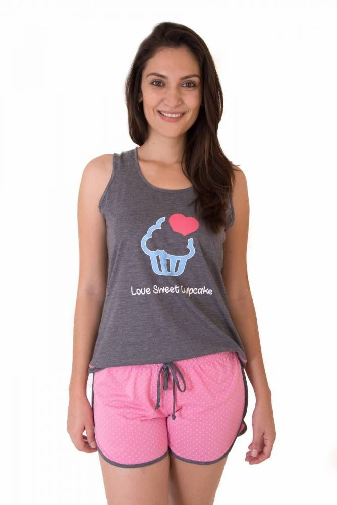 Pijama Short Doll Feminino Adulto Curto com Shorts- Cupcake Baby Dolls 7ca43ce49
