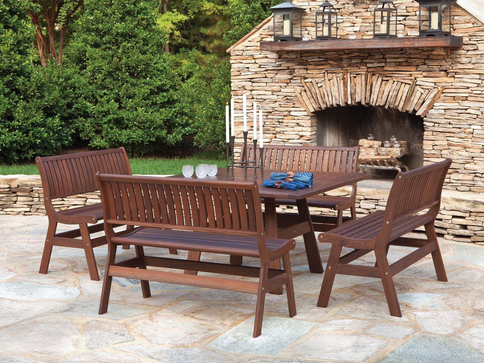 Jensen Leisure Beechworth 5 Piece Outdoor Dining Set Square Dining Tables Outdoor Dining Set Outdoor Furniture Sets