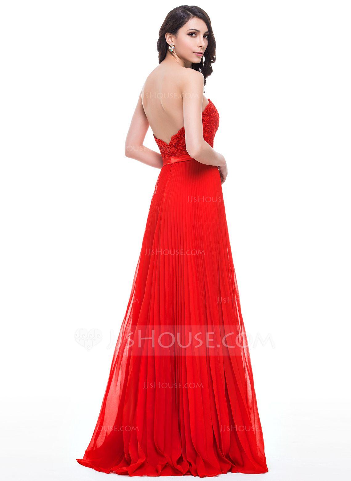 Alineprincess sweetheart floorlength chiffon lace prom dresses