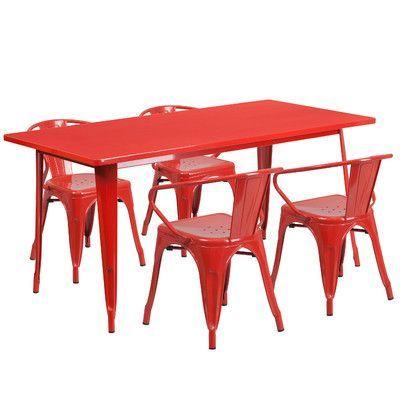 Flash Furniture 5 Piece Dinning Set Finish: Red
