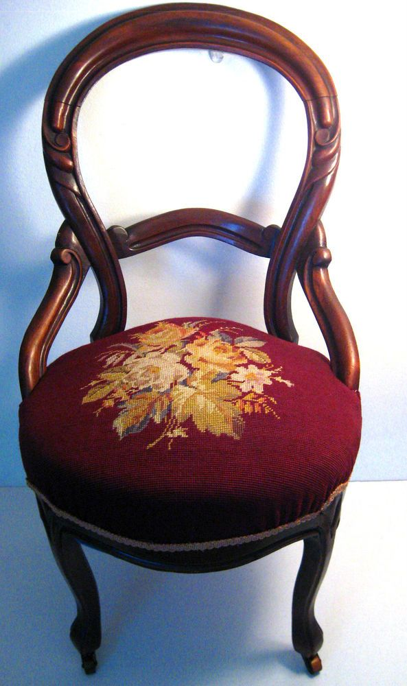 Antique Balloon Needlepoint Victorian Style Curved Parlor Side Chair  W/Wheels #viktorian