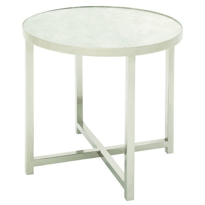 Modern Reflections Marble And Stainless Steel Round End Table, Silver  Finish Four Leg Steel Legs