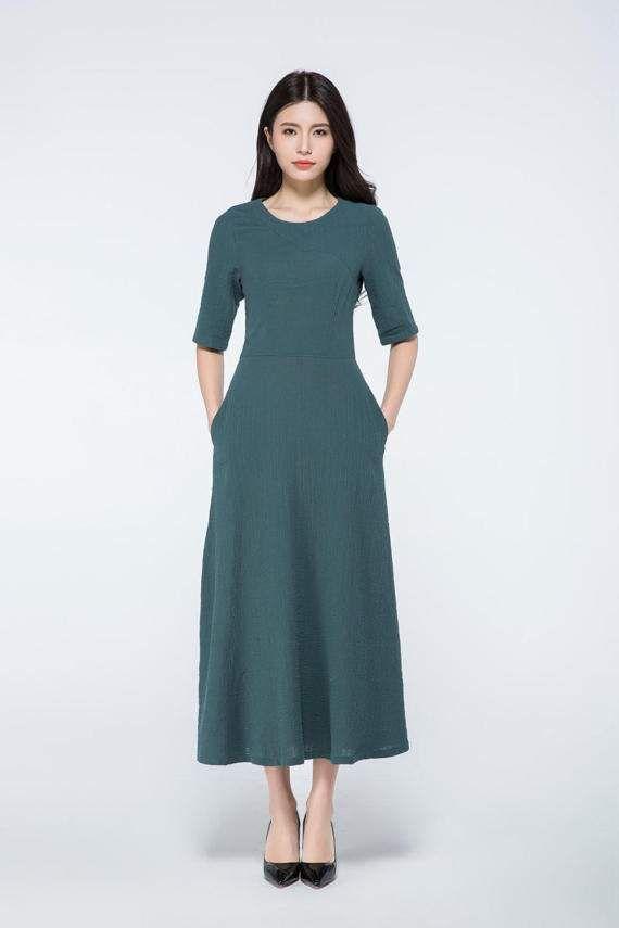 Legergroene Maxi Jurk.Dark Green Dress Linen Maxi Dress Maxi Dress With Sleeves Linen