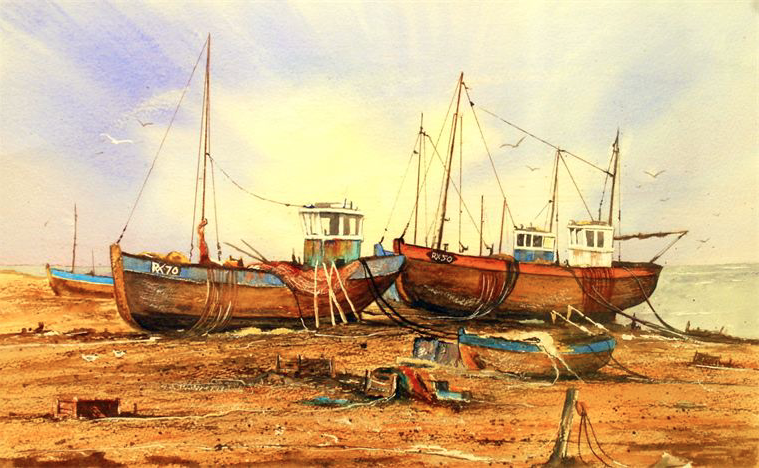 Hastings old town fishing fleet. Watercolour.