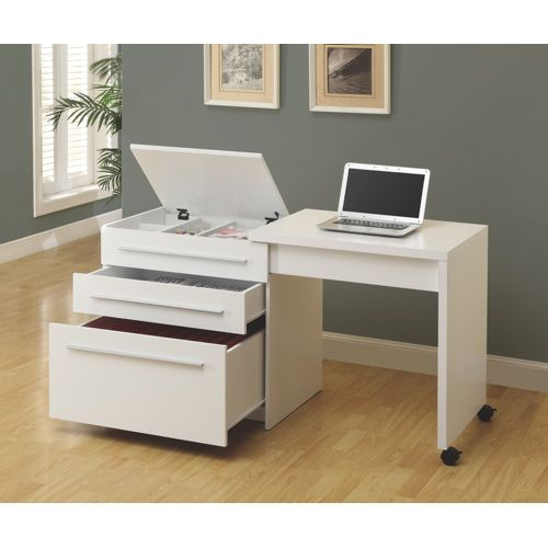 Storage Storage And More Storage The Monarch S Compact Workstation In White Finish Is A Handy Addition White Computer Desk Computer Desk Design Desk Design