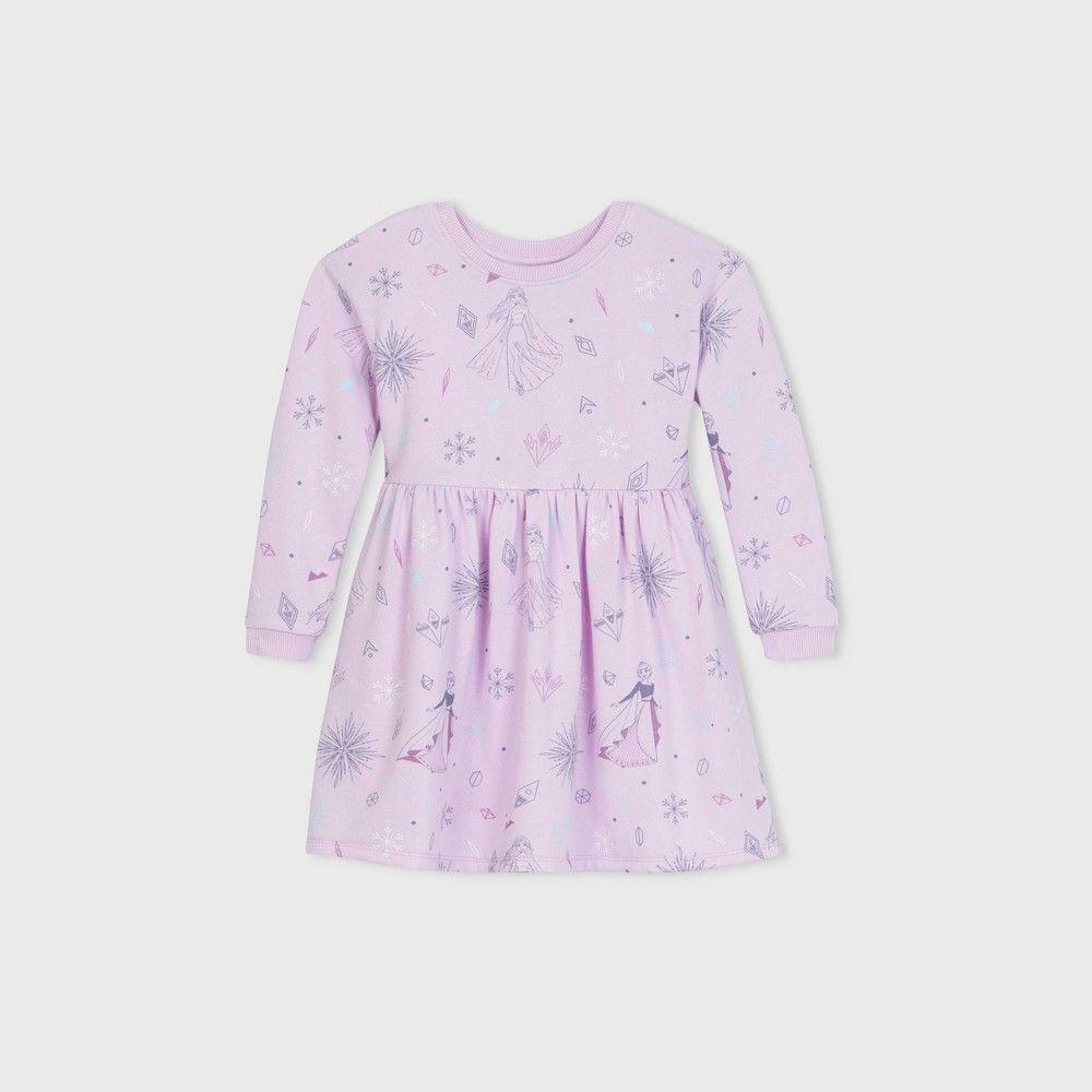 Toddler Girls Disney Frozen Fleece Long Sleeve Dress Lilac 4t Lilac Dress Long Sleeve Dress Toddler Dress [ 1000 x 1000 Pixel ]