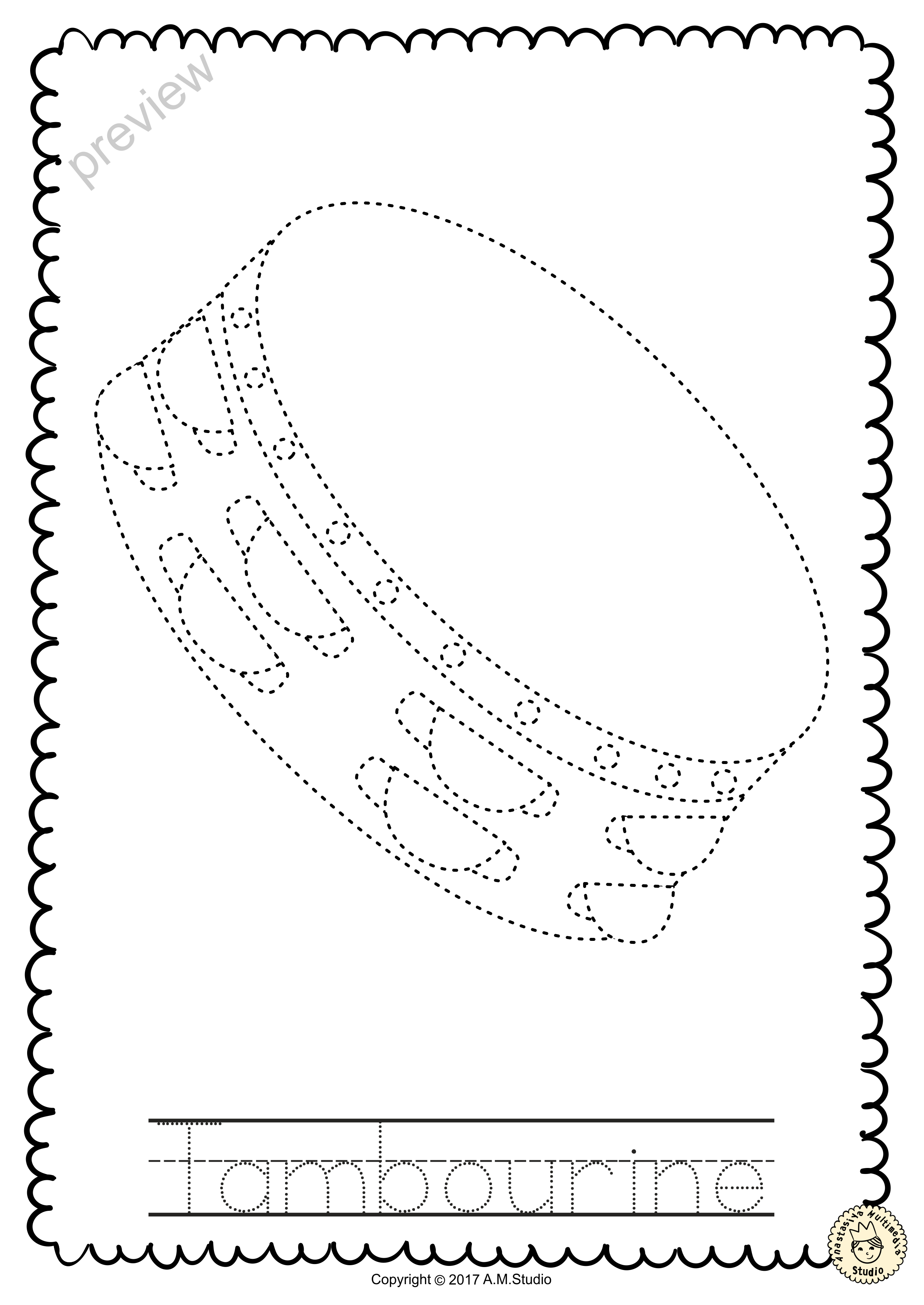 Percussion Instruments Trace And Color Pages With Images