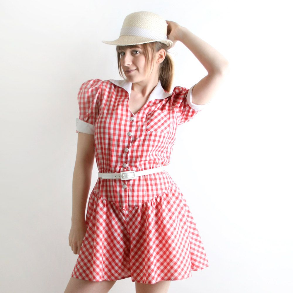 6a81d09bd443 Vintage Gingham Romper - Country Girl Picnic Style in Cherry Red ...