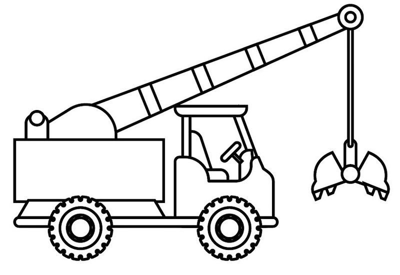 Fun Crane Truck Coloring Picture
