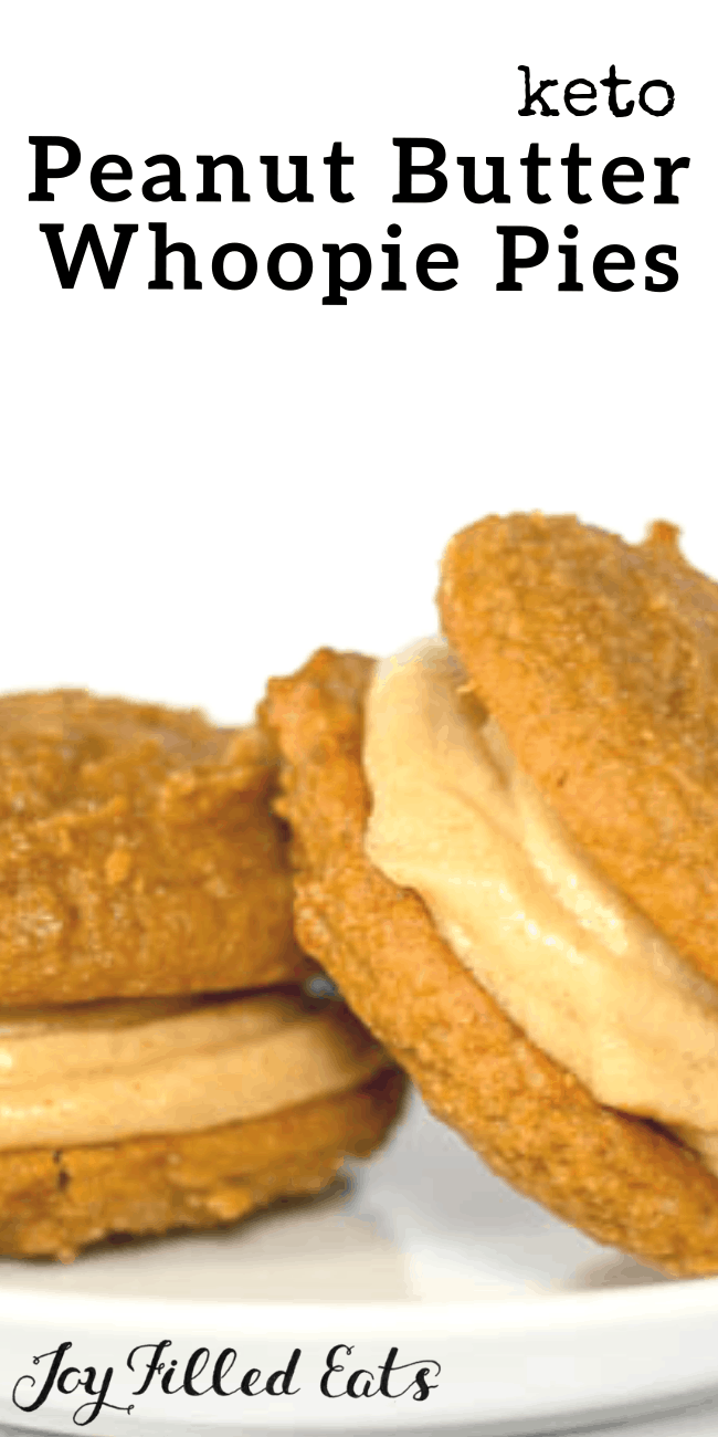 Peanut Butter Whoopie Pies. Low Carb, Keto, Gluten-Free, Grain-Free, Sugar-Free, THM. Peanut Butter Whoopie Pies. Two tender cakey cookies sandwiched with peanut butter buttercream frosting. These are so good you will never be able to tell they are low carb or sugar free.