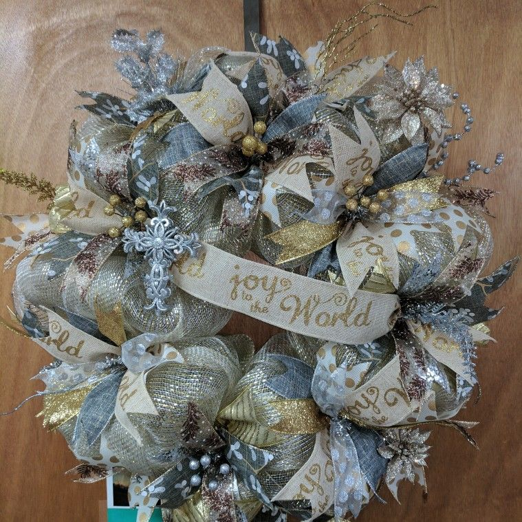 Joy To The World Gold And Silver Wreath Christmas Wreaths Whimsy Wreath Winter Wreath