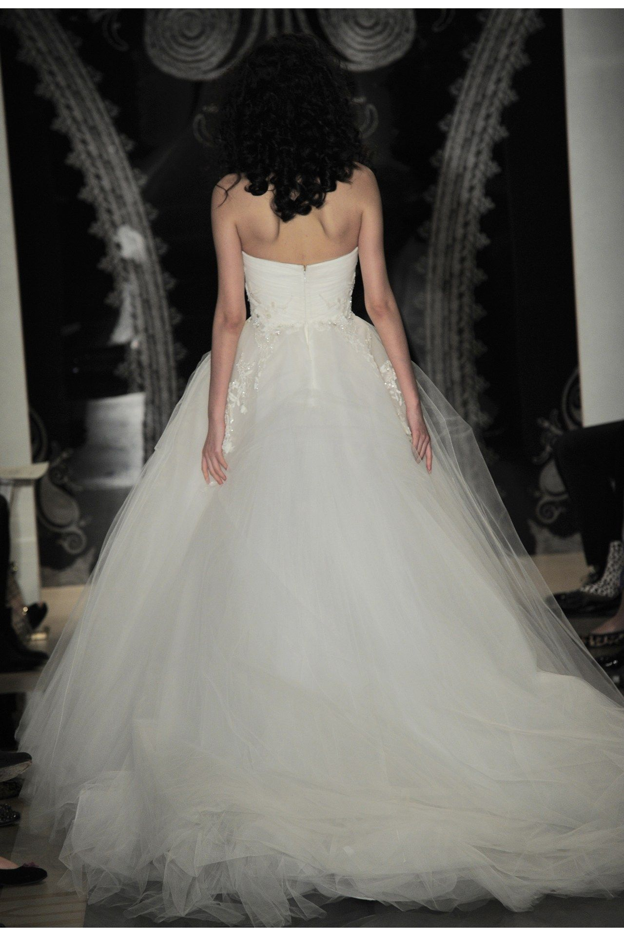 Reem Acra - Bridal Spring 2014  TAGS:Floor-length, Strapless, Ivory, Reem Acra, Silk, Tulle, Princess