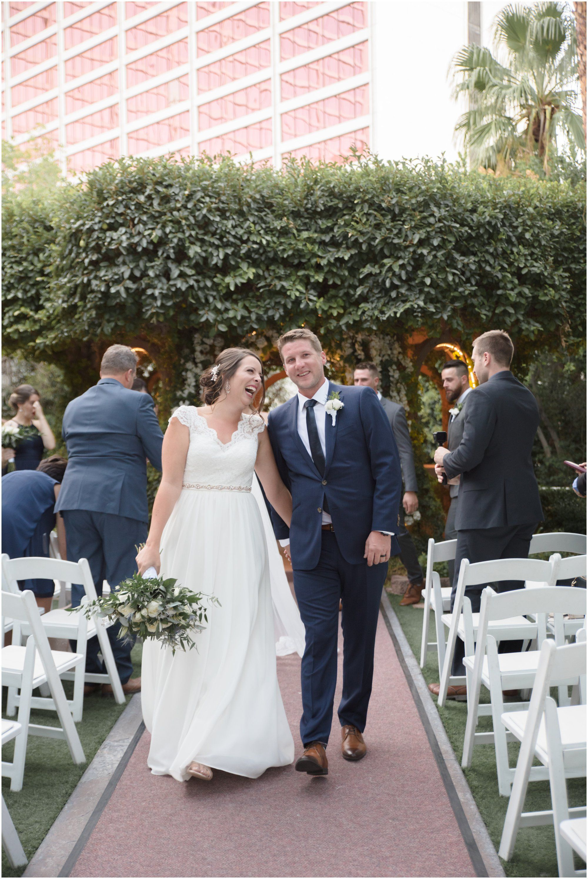 Ariane Rory Wedding At The Flamingo Hotel Casino Las Vegas Wedding Venue Conservative Wedding Dress