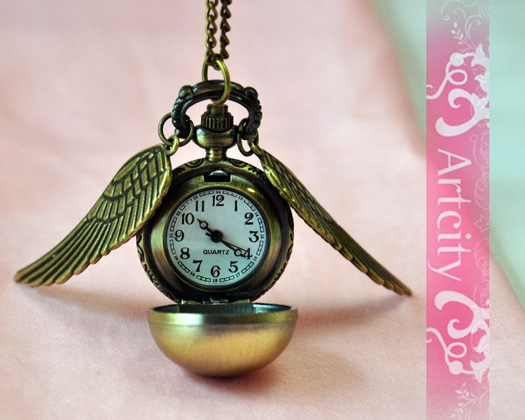 Harry Potter Golden Snitch Watch Necklace with by ArtCity2011, $3.99