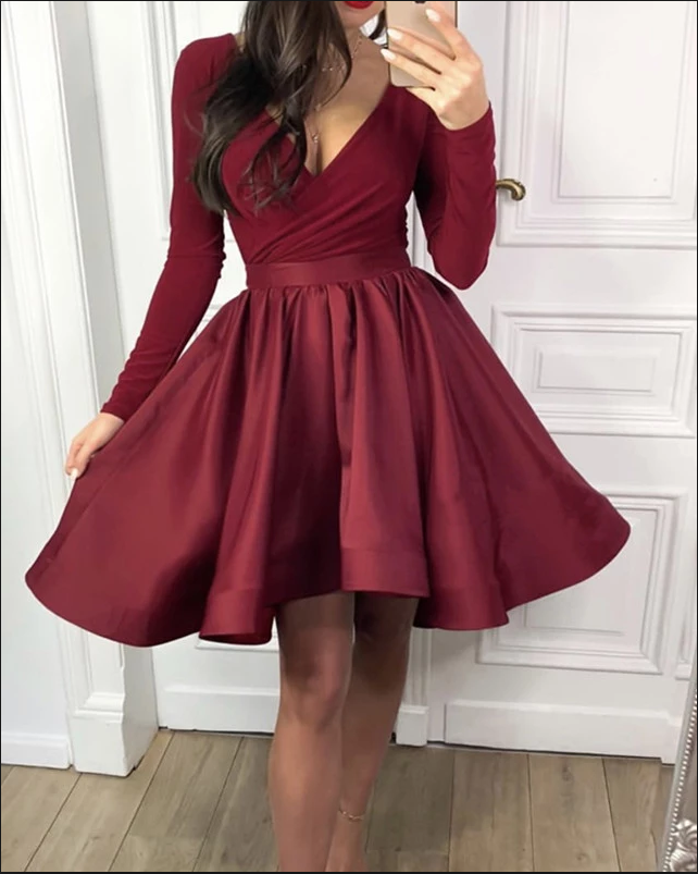 Burgundy Long Sleeves Homecoming Dresses,V-neck A-line Party Dress