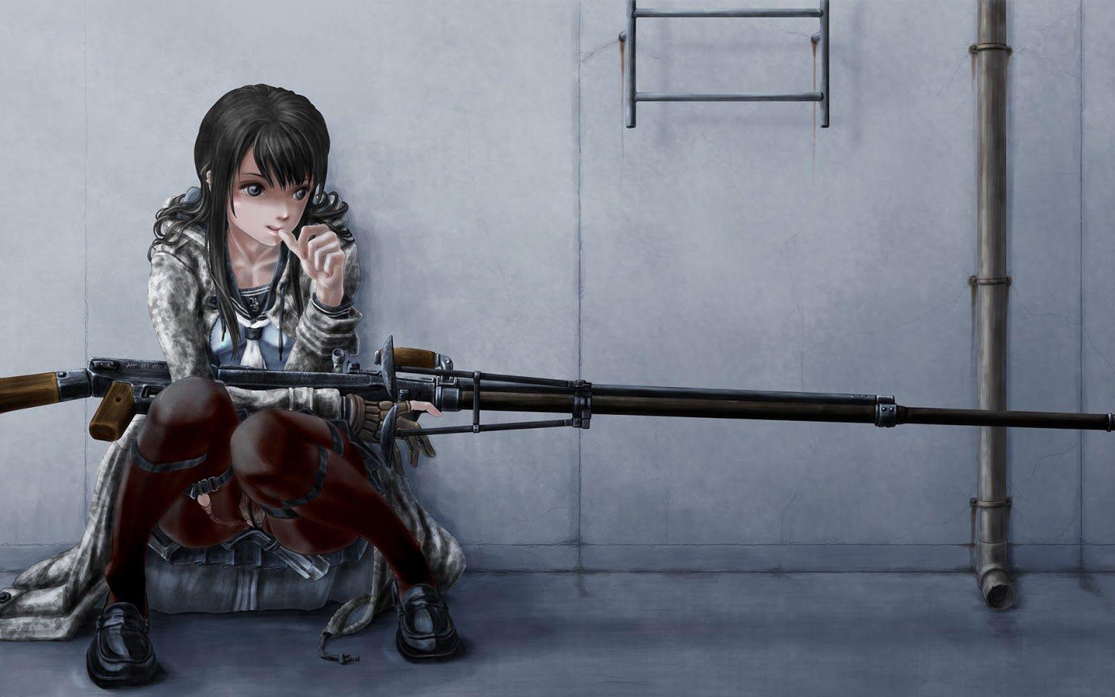 Sniper Girl Waiting 1144 Hd Wallpaper Sniper Girl Anime Wallpaper Guns Illustration