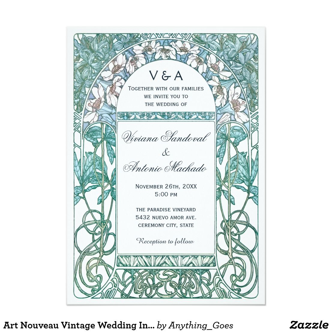 Art Nouveau Vintage Wedding Invitations VI | Wedding | Pinterest ...