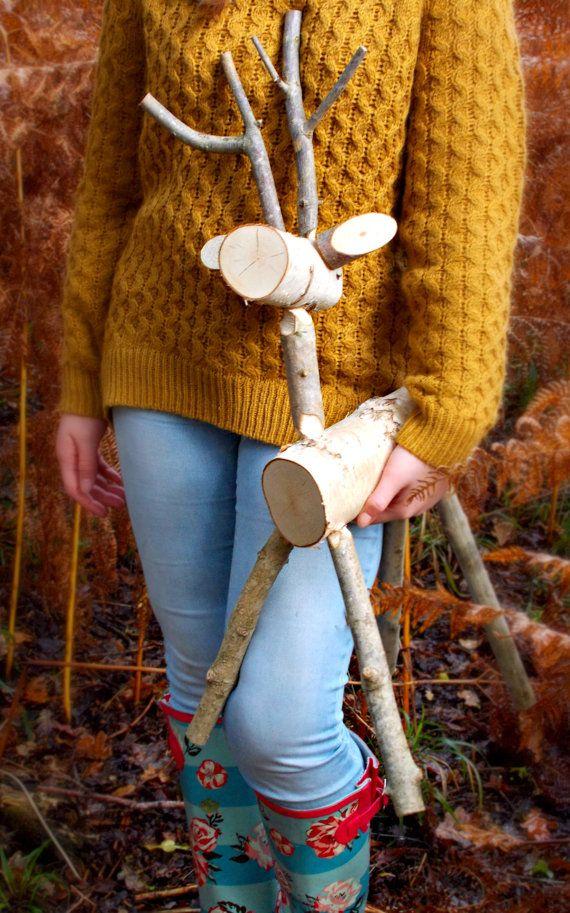 Rustic deer white birch medium 70cm reindeer by for White birch log crafts