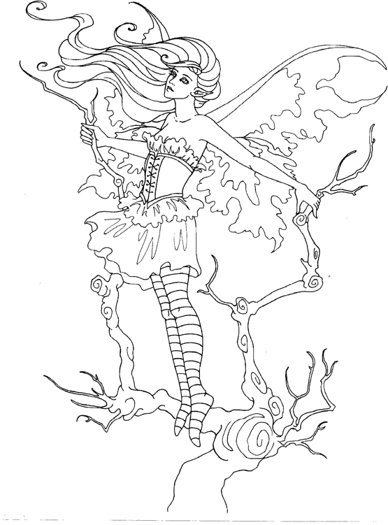 Advanced Coloring Pages Of Fairies : Amy brown coloring page fairy myth mythical mystical