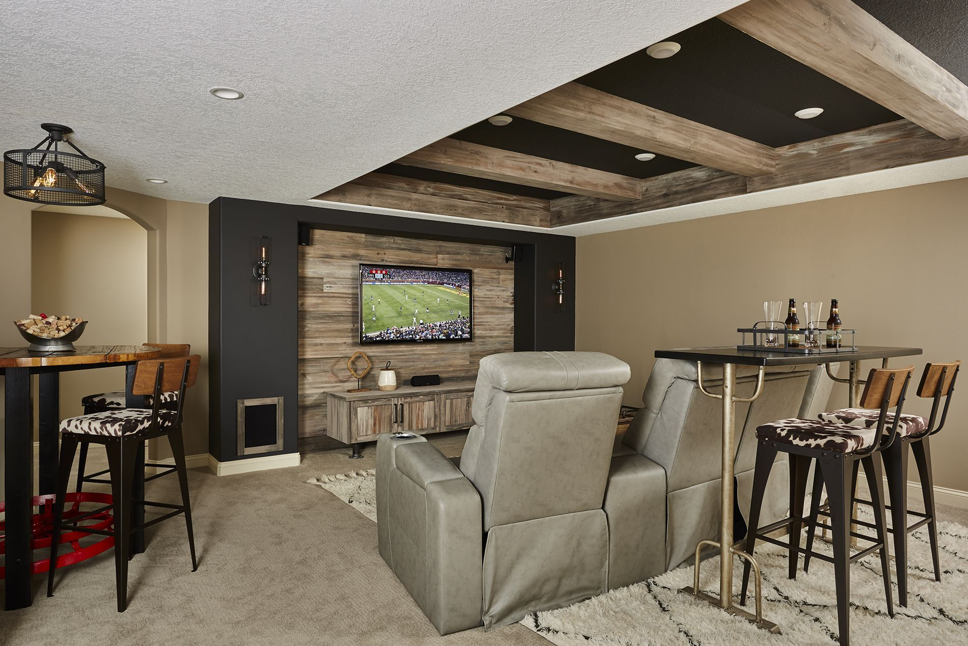 Rustic Home Theater Basement Theater Ideas Modern Industrial