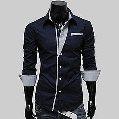 Camisa de la solapa de color de manga larga para Hombres – USD $ 19.79  lightinthebox.com