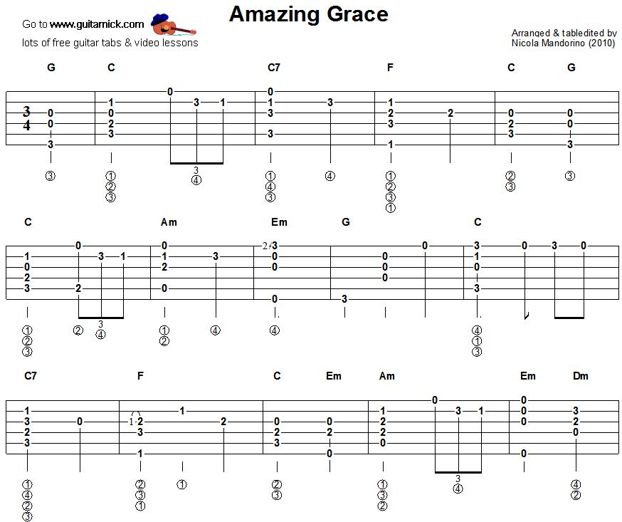 Amazing Grace - fingerstyle guitar tablature 1 | love | Pinterest ...