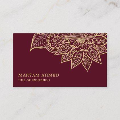 Gold Burgundy Henna Mehndi Islamic Business Card Zazzle Com Henna Mehndi Brown Henna Mehndi