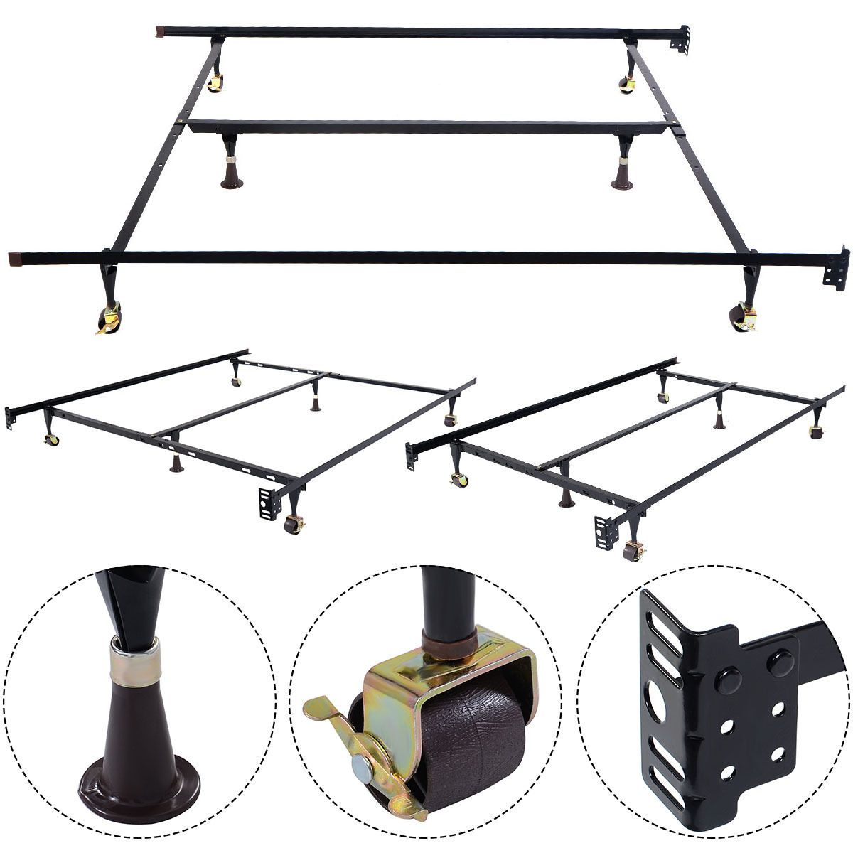Size Adjustable Steel Bed Frame with Casters Metal bed