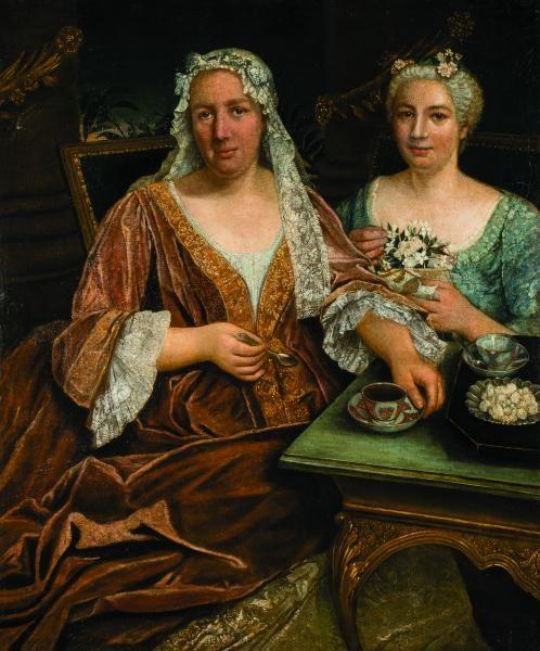 Ecole Francaise Milieu Du Xviiie Siecle Mere Et Fille Devant Leur Tasse De Chocolat 18th Century Paintings 18th Century Portraiture