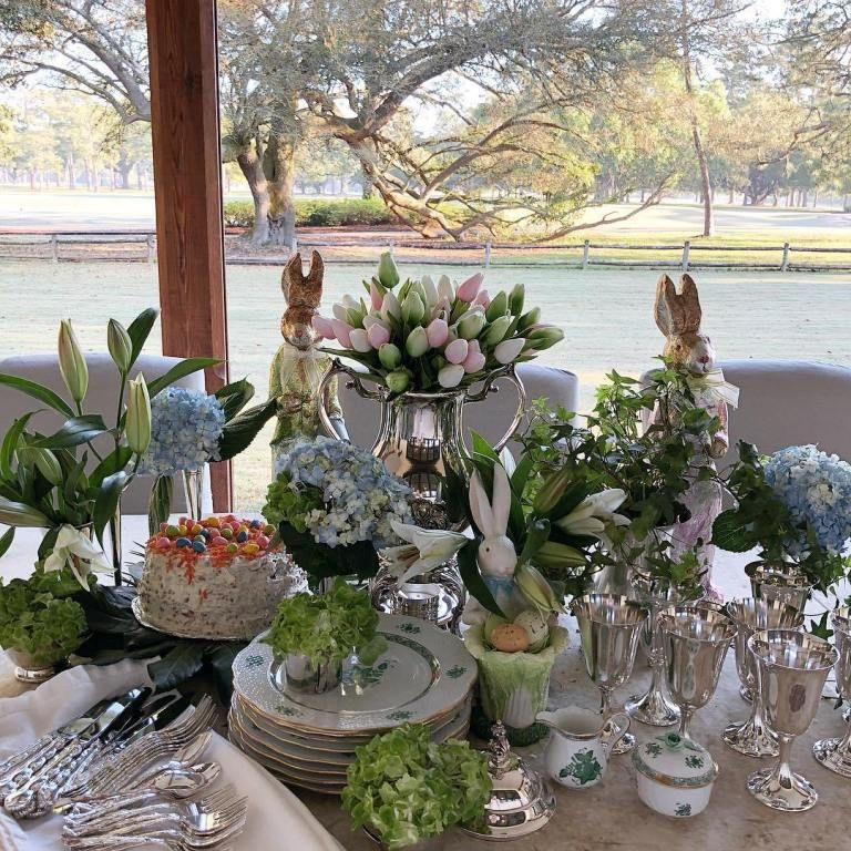 Spring And Easter Tablescape Ideas The Glam Pad Easter Table Decorations Easter Table Settings Easter Buffet Table