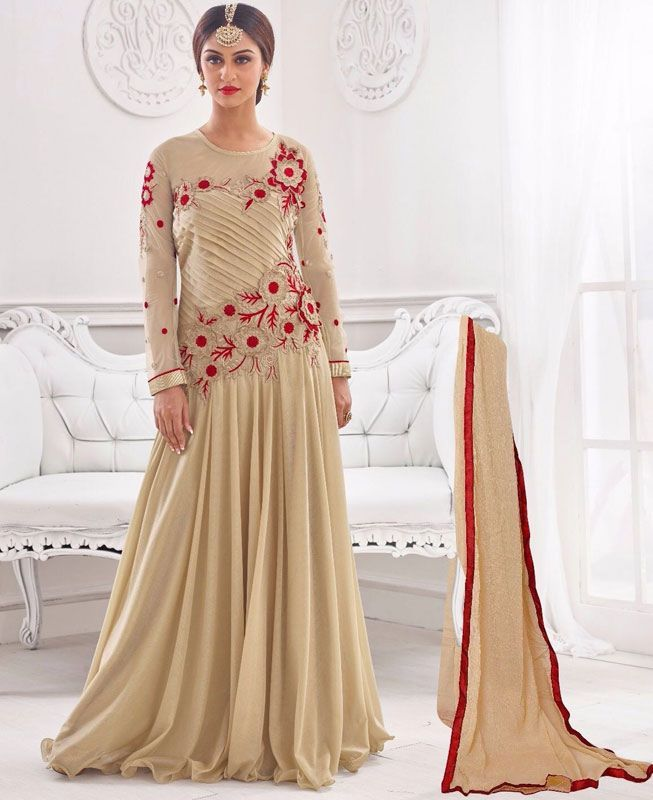 Graceful Cream Color Party Wear Gown | Party wear, Asian clothes and ...